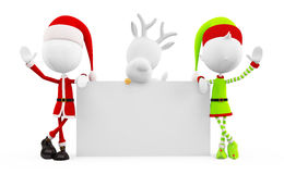 Santa and Elves with presenting board Stock Image