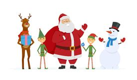 Santa with elves, reindeer, snowman - cartoon characters  illustration. On white background. Happy symbols of New Year stand with presents. Perfect as greeting Stock Photos