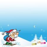 Santa em esquis Fotos de Stock Royalty Free