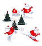 Santa em esquis, em patins, com os presentes. Ilustração Royalty Free