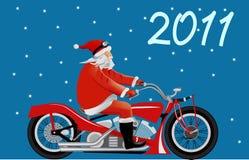 Santa em uma motocicleta Foto de Stock Royalty Free