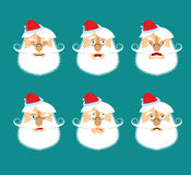 Santa Emoji set. Face Santa Claus collection. Good and evil. Che Stock Image