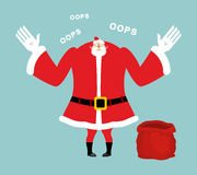 Santa empty red bag. Gifts ended. Santa Claus sorry speaks Royalty Free Stock Image