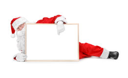 Santa and empty white board Royalty Free Stock Photography