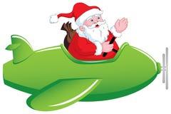 Santa en aeroplano stock de ilustración