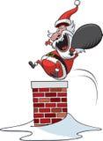 Santa en bas de la cheminée Photographie stock libre de droits