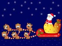 Santa-en-deers-a-team Royalty-vrije Stock Afbeeldingen