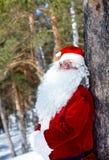Santa en la madera foto de archivo