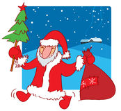 Santa en la nieve Libre Illustration