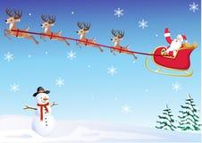 Santa en su trineo de los ciervos Foto de archivo libre de regalías