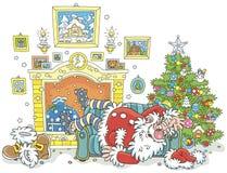 Santa endormie après dur labeur illustration stock
