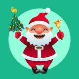 Santa engraçada com árvore de Natal e os sinos dourados Fotografia de Stock
