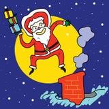 Santa engraçada salta sobre a chaminé sob o luar Fotos de Stock