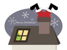 Santa engraçada que escala através da chaminé Imagem de Stock