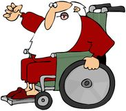 Santa enojado en un sillón de ruedas Imagen de archivo