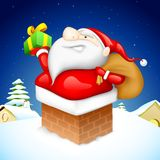 Santa entering through Fire Pipe. Illustration of Santa CLaus entering through fire place pipe with gift Stock Images