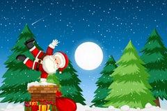 Santa espiègle la nuit illustration stock