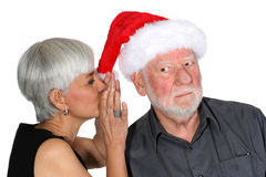 Santa está escutando Imagens de Stock Royalty Free