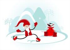 Santa está patinando Imagem de Stock Royalty Free