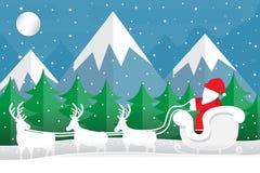Santa está viajando para dar presentes Projeto dos desenhos animados do corte do papel do vetor Fotos de Stock