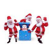 Santa está bailando alrededor de hombre de la nieve Fotos de archivo