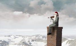Santa est ici Media mélangé Image stock