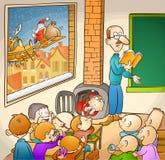 Santa et étudiants Photo stock