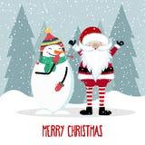 Santa et bonhomme de neige illustration de vecteur