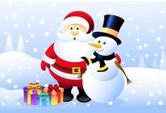 Santa et bonhomme de neige Photographie stock