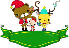 Santa et cerfs communs illustration de vecteur