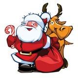 Santa et cerfs communs image libre de droits
