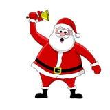 Santa et cloche drôles Photographie stock libre de droits