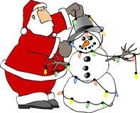 Santa et le bonhomme de neige illustration libre de droits