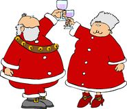 Santa et Mme Claus offrant un pain grillé illustration libre de droits