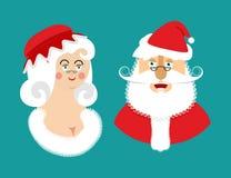 Santa et ornements ou graphismes de Mrs Claus a isolé Noël Family Femme dans le Dr. rouge Photos stock