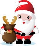 Santa et renne Images libres de droits
