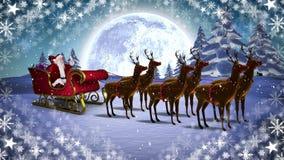 Santa et renne dans le traîneau dans le paysage d'hiver avec des flocons de neige illustration libre de droits