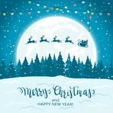 Santa et renne sur le fond de Noël illustration libre de droits