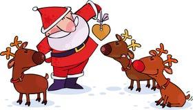 Santa et rennes Photos libres de droits