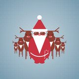 Santa et son illustration de troupe de renne Photographie stock libre de droits