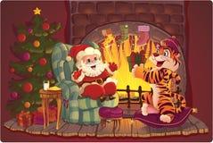Santa et tigre. Photo libre de droits