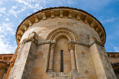 Santa Eufemia de Cozuelos church abse. View of Santa Eufemia de Cozuelos romanesque church abse in the province of Palencia Spain Royalty Free Stock Images