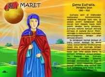 SANTA Eufrasia calendar christian idea2. Santo santa christian concept table calendar and storybook christian children Royalty Free Stock Photo