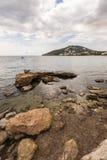 Santa Eulalia kustlinje i Ibiza Fotografering för Bildbyråer
