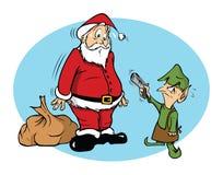 Santa and an evil elf. Cartoon illustration of Santa and an evil elf Stock Photo