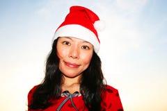 santa för asiatisk hatt slitage kvinna Arkivfoto