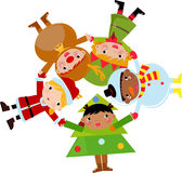santa för barnjulclaus ren set Fotografering för Bildbyråer