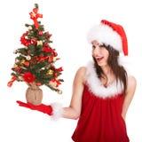 santa för hatt för julgranflicka liten tree Royaltyfri Bild