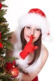santa för hatt för julgranflicka tree Royaltyfri Foto