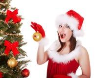 santa för hatt för julgranflicka tree Fotografering för Bildbyråer